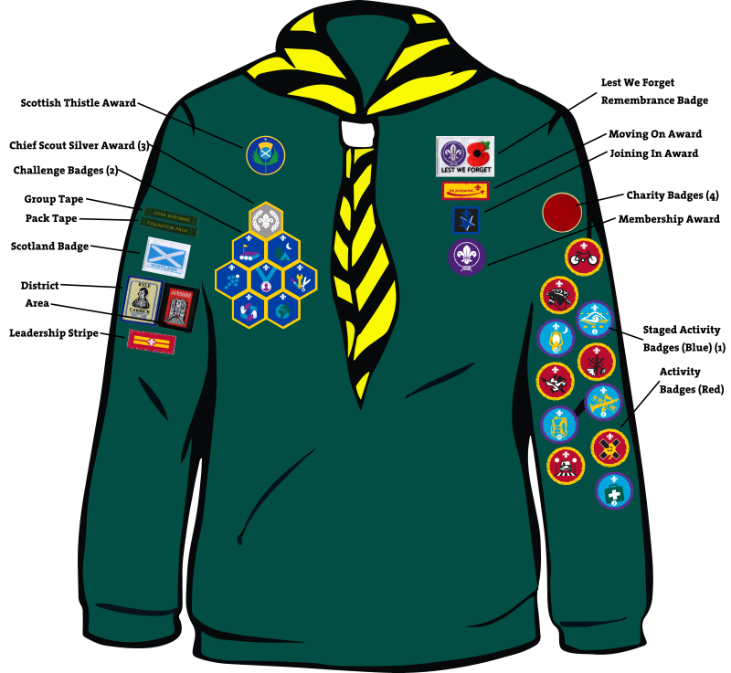 cub badge positions 28th ayrshire troon scout group